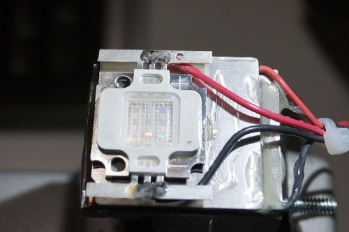 closeup of uv led mounted on heatsink