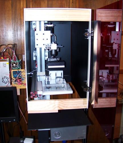 3d printer in housing door open