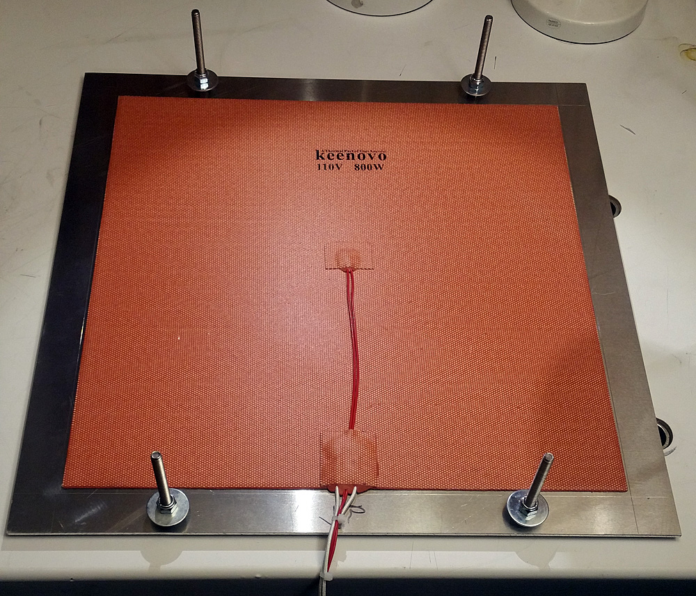 Back of build plate showing 350mm x 350mm 800W heater.